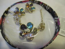 AVON Flower Market Necklace & Earring Set Goldtone with Enamel & Faux Stones