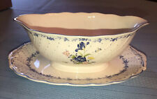 Nikko Blue Peony Gravy Boat & Stand/Butter Dish - Vintage Floral