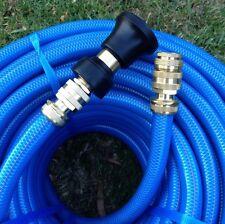 "Premium 18MM - 3/4"" Garden Water Hose 50M Brass Fittings & Fire Nozzle"