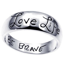 Love Life Be Brave Ring Sterling Silver 925 Wide Band Inspirational Gift, Size 8
