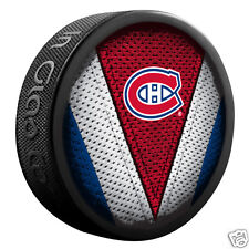 """Montreal Canadiens """"Stitch"""" Series Team Logo Model Souvenir Puck New In Glas Co"""