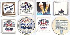 4x Sous Bock Beer Coaster Bierdeckel EDELWEISS MAISEL'S ERDINGER AUGUSTINER