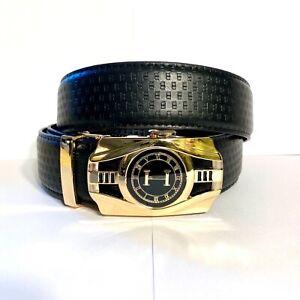 Mens Pavini Adjustable Ratchet Belt Black Synth Leather Gold H Clock Buckle