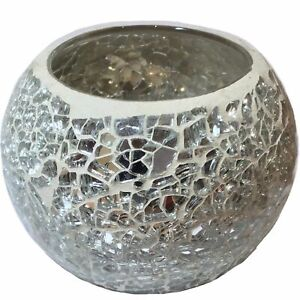 WHITE SILVER CRACKLE GLASS MOSAIC CANDLE TEALIGHT HOLDER HOME DECOR
