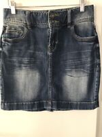 Just Jeans Size 8 Women's Blue Denim Skirt with Double Button and Zip at Front