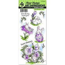 Art Impressions Clear Stamp Set Easter Blessings Bunny Egg Flowers