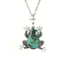 Women's Genuine Turquoise Frog Pendant charm Sterling Silver And Marcasite