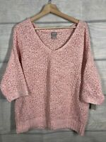 Chicos 2 NWT Pullover Sweater Vneck Tape Yarn Coral 3/4 Sleeve Msrp$90