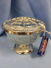 NWT English Silverplate & Crystal Flower Frog / Candy Dish