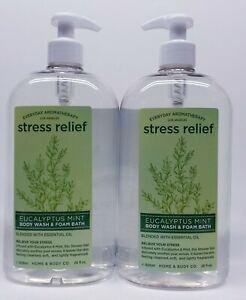 2  Everyday Aromatherapy Stress Relief EUCALYPTUS MINT Body Wash Foam Bath (28oz