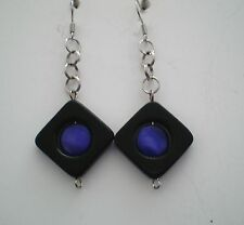 """Earrings Mother-of-Pearl/Onyx Blk Silver Plated Dangle 2.5"""" Handmade GB USA New"""