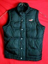 Hollister Men Large L Redondo Down Feather Black Full Zip Snap Button Vest