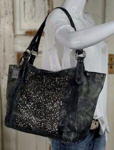 FRYE DEBORAH GRAY Distressed Leather Large Shopper Tote Carryall Shoulder Bag