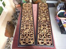 ancienne paire de panneaux bois doré,chine XIXème,à la chauve souris,121x30,5cm