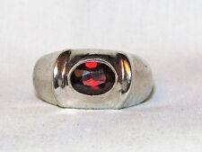 Estate Designer ~0.8 ct Red Natural Garnet 925 Sterling Ring Sz 8 Men Women