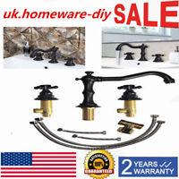 2 Handle Widespread Bathtub Faucet Bathroom Sink Faucet Oil Rubbed Bronze3 Hole