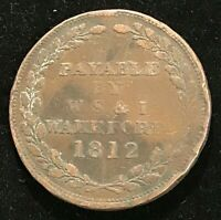 1812 ANDOVER GB PENNY TOKEN Wakeford. Good