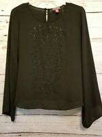 Vince Camuto Black Sequin Sheer Blouse Top 3/4 Wide Sleeve Loose Fit Womens M