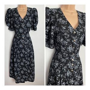 Vintage Hammerschmid Black & Grey Floral Dirndl Trachten Landhaus Dress 8-10