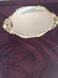 "Vintage Matson Brass Ormolu Vanity Mirror Tray 16"" Floral"