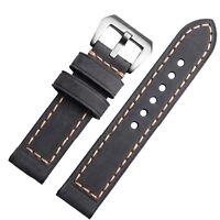 20mm 22mm 24mm 26mm Men's Gray Genuine Leather Watch Strap Band Beige Stitching