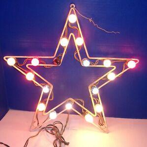 Old Vintage Electric Christmas Metal Star 18 Lights