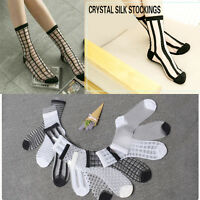 Women Girls Crystal Socks Ultrathin Lace Transparent Elastic Spotted Striped