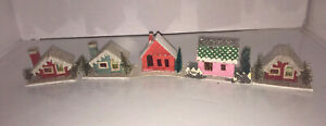 5 Vintage Cardboard CHRISTMAS VILLAGE Houses Bottle Brush Trees JAPAN Pre Owned