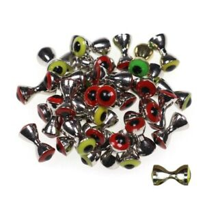 10pcs Fish Eyes Fly Tying Sunken Brass Barbells Bead 3D Realistic Solid Dumbbell