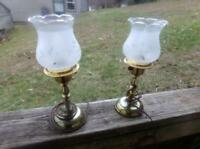 Set Vintage Brass Candlestick Electric Lamps ~ Etched Frosted Shade Over Clear