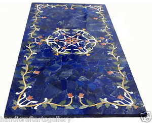 2'x4' Blue Marble Dining Table Real Lapis Inlay Mosaic Kitchen Decorative H2043A