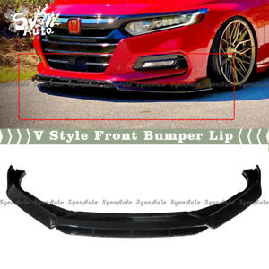 FIT 2018-2021 HONDA ACCORD 4PC GLOSS BLACK V STYLE FRONT BUMPER LIP SPLITTER KIT
