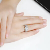 Classic Round Diamond Pave Engagement Wedding Ring 14k White Gold Over 2.5Ct