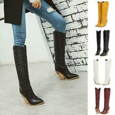 Womens Crocodile Skin Western Strange High Heel Cowboy  Knee Boots Pointed Toe