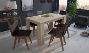 Table à dîner en bois  140 cm 6 personnes 3 coloris