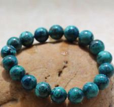 Handmade Natural 10mm Chrysocolla Round Gemstone Beads Stretch Bracelet 7.5''Aaa