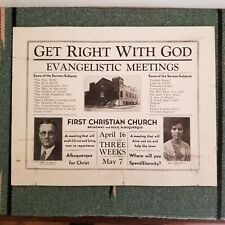 Christian Evangelist Poster Broadside Vintage 30s 40s Revival Albuquerque NM SW