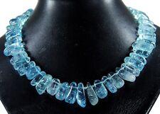 Schöne Edelsteinkette  aus AQUA AURA Bergkristall in großer Splitterform