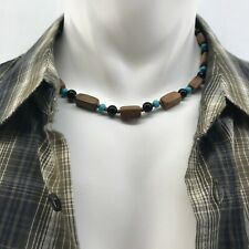 Handmade Mens Beaded Necklace Brown Marble, Black Obsidian, Turquoise Magnesite