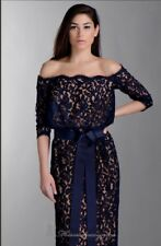 Lace Off Shoulder Gown by Tadashi Shoji Navy Blue 3/4 Sleeve Gown Size: 10