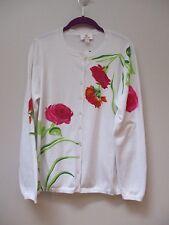 QUACKER FACTORY White Think Pink Sparkle Floral Cardigan M