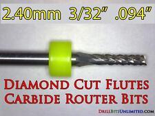 """3/32"""" Carbide Router Bit - Diamond Cut Flutes - Super Value! CNC PCB Dremel  FT"""