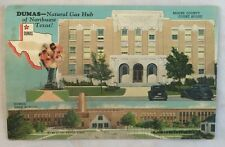 1946 Dumas Texas Postcard High School Court House Natural Gas Hub of Northwest