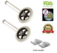 Walker Wheels Replacement Kit  W/ski glides 1/pr Comparable to Invacare & Drive
