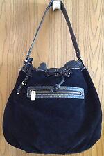 Fabulous Liz Claiborne Black Genuine Suede Leather Shoulder Bag Great Condition