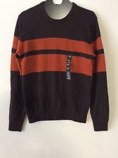 Sean John Men's Colorblocked Ribbed Trim Pullover Sweater Brown,L