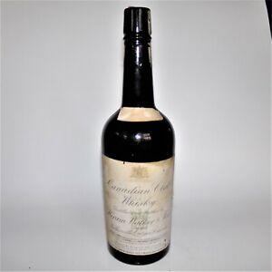 1911 Black Glass ABM Whiskey Bottle HIRAM WALKER & SONS CANADIAN CLUB WHISKY