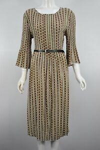 Womens Girls Chain Print Pleated Drop Waist Belted 3/4 Sleeve A-Line Dress White