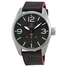 Brooklyn Watch Company Lafayette Black Dial Black Red Accent Leather Swiss CLA-H