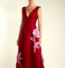 Carolina Herrera Red Floral Applique V Neck Silk Gown Dress size 4 Brand New